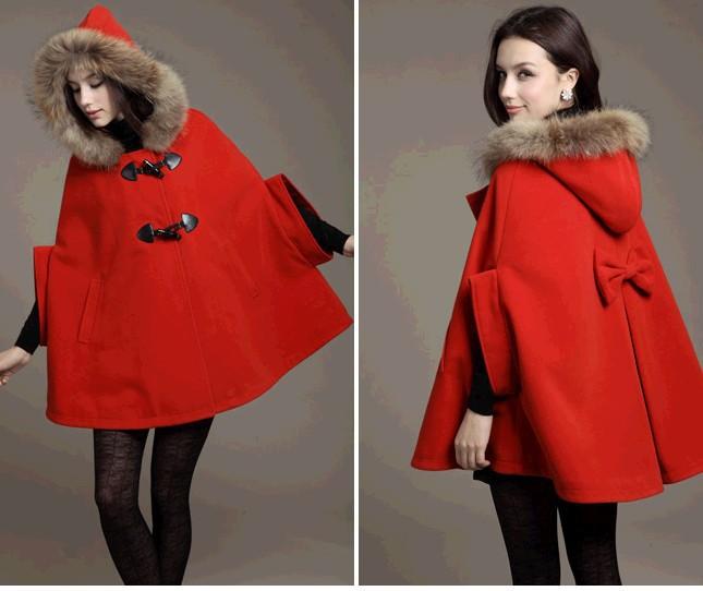 Poncho cape style woollen coat casacos feminino