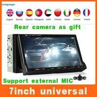Universal Flip 2 double din 7'' Car DVD Automotivo Player W/GPS Navi+Radio+BT+Russian Menu+Aduio+TV-BOX+Stereo,Steering Wheel