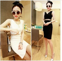 free shipping New Fashion 2014 Elegant Celebrity O-neck Sleeveness Mini Cotton Casual Bodycon Women Dresses sexy dress