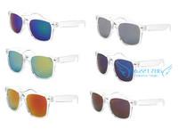 Reflective Transparent Frame Colorfull Mirror Lens UV400 Sunglasses Wayfarer Eyewear 6 colors can choose