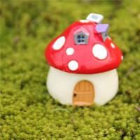 Mini Mushroom House Red Pink Yellow Green Decorative Garden Ornament Fun Indoor Outdoor