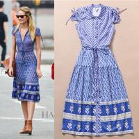 Fashion High Quality 2014 European Brand Women's Summer Lacing Print Slim Short Sleeve Blue Mid-Calf Dress With Belt