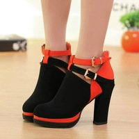 women Spring autumn 2014 high-heeled European and American nightclub shoes hasp zipper leather patchwork ankle boots