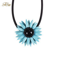 Summer Collection Colorful Sunflower Statement Necklace Leather Chain Necklace Pendant#1490