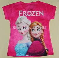 Frozen Tshirt for Girls 2-7ages Princess Elsa & Anna Short-Sleeve T shirt Hight Quality Frozen Shirt