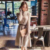 Hot sale casacos femininos 2015 new fashion Korean long loose turtleneck sweater cardigan knitted sweaters dress women clothing
