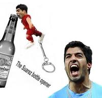 Luis Alberto Suarez Bottle Opener Funny Bite Image Stainless Steel Metal Tool With Key Ring Keychain Opener