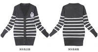 Hitz 2014 Women Korean navy wind stripe knit cardigan jacket high quality college sweater