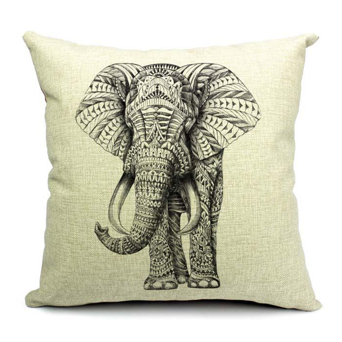 """18"""" algodão quadrado& almofada de linho/serapilheira fronha almofada do sofá processo bonito adorável elefante frete grátis(China (Mainland))"""