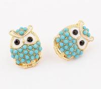 brand new gold punk stud earrings for women fashion owl earrings 2014 vintage jewelry wholesale Antique earring