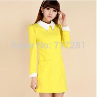 Hot Sale! New 2014 Korean fashion sweet package hip Slim long-sleeved dress Free Shipping      q4583