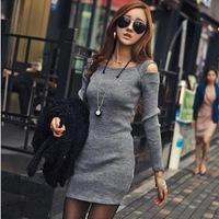 2014 in spring and autumn new dress sexy shoulder bag hip nightclubs slim slim dress