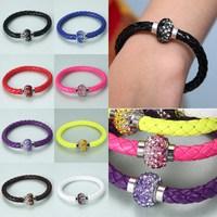 Hot sale jewelry unique rhinestones personality leather bracelet Wrap Wristband Cuff Magnetic Buckle Bracelet Bangle