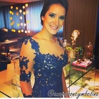 E3256 Elegant sheer straps lace beaded royal blue long sleeve evening dress