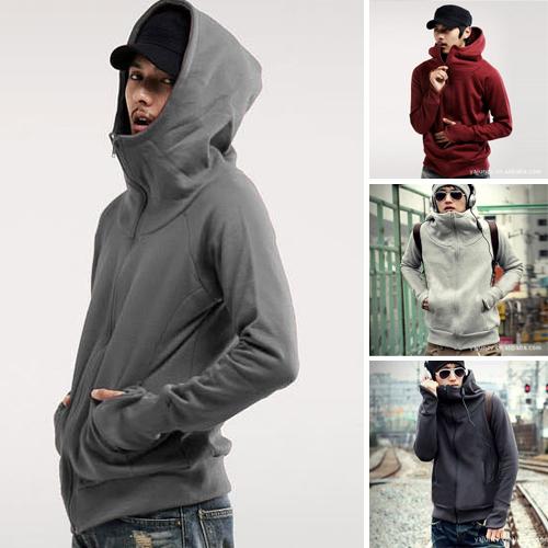 [해외]남자는 장갑 코트 패션 지퍼 셔츠 남성 가디건 라이트 그레이..