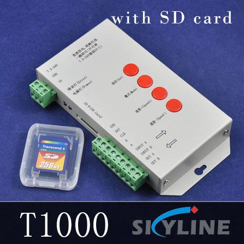 original T1000S SD card for WS2801 WS2811 LPD6803 led pixel controller RGB full color DMX512 2013 DC5V-24V RGB play video(China (Mainland))