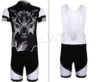 2014 Ghost Wolf Short Sleeve Cycling Jersey + Bib Shorts MTB Cycle Sports Jerseys for Men