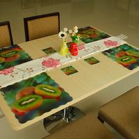 Novelty Households Placemat Kiwi Berry Pattern Table Mat &Cup Mat 8pcs Sets size 4L+4S