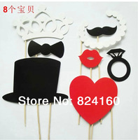 New Year Sale!Free shipping,8 pcs/lot DIY Photo Booth Props Hat Lips Tie Mustache On A Stick Wedding Birthday party fun favor