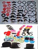 Free Shipping  Classic 82 PCS Classic 2014 NEW 82pcs On A Stick Mustache Photo Booth Props Wedding Party Fun Birthday Favor Dec