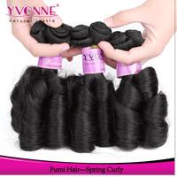 3Pcs/lot Unprocessed Virgin Hair Weave,Spring Curly Fumi Hair,100% Remy Human Hair,Aliexpress Yvonne Hair,Natural Color 1B