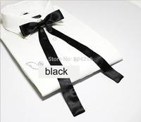 Women Girl Sailor School Pre-tied Satin Thin Bowtie Bow Neck Tie Black