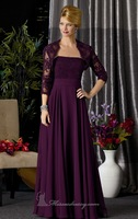 Hot Sell ! Long Chiffon Designer Mother Dress 2014 ,Ravishing Evening Gown Embellished with Beaded Lace on Bodice ,with Jacket