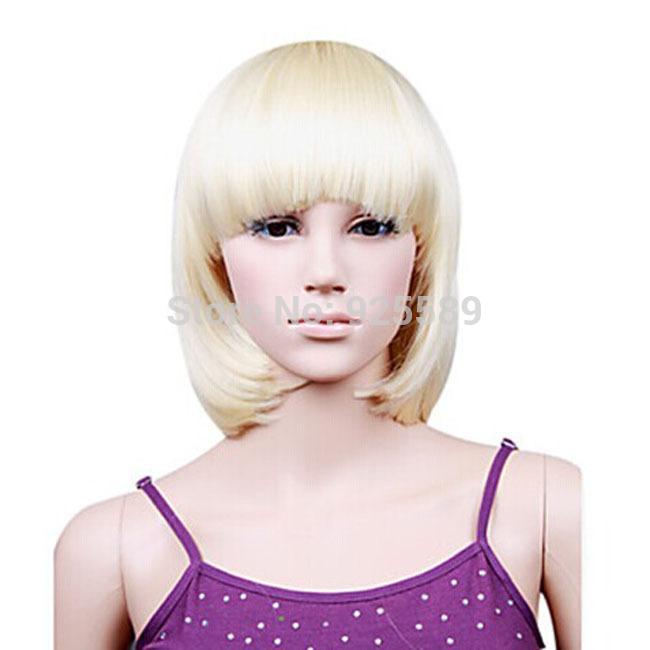 Capless Lady Gaga Celebridade Moda Bob Curta Alta Qualidade Peruca sintética(China (Mainland))