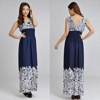 2014 Women Sexy Summer V-Neck Sleeveless Floral Print Dress Plus Size Bohemia Floor Long Beach Maxi Dress XXL-4XL for holiday