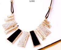 Fashion Black Geometrical Irregular Pendant Necklace Crystal Punk Jewelry for Women Freeshipping
