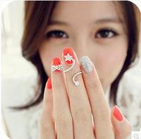Top Sell New Koreal Rhinestone Starfish VintageFlower Spiral Pentagram Nail Ring  R-060