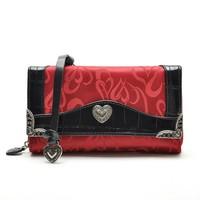 Cowhide Genuine leather patchwork Heart Jacquard Cloth Fashion Women's Vintage messenger/shoulder/Day Clutches Wallets purse Bag