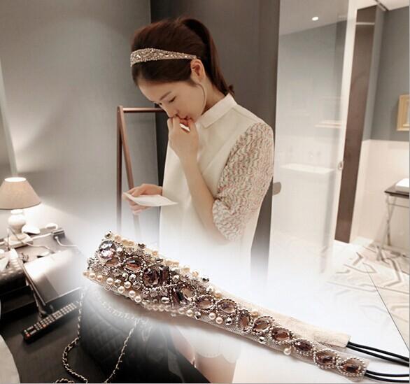 holesale retail charming Fshion handmade chain beads acrylic crystal pearl Elastic headband party hari accessories(China (Mainland))