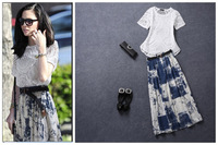 2014 free shipping european style women casual dress twinset ,o-neck short sleeve lace shirt long printing skirt star favouriate