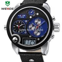 2014 New WEIDE wh2305 Oversized men watch 30 ATM analog sports watch genuine leather Miyota 2035 quartz watch1 year guarantee