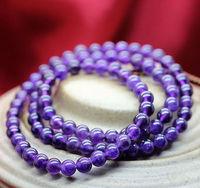 Min order $15 new fashion 3 laps 6mm  purple crystal beaded bracelet for women and girls  best selling best gift