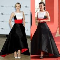High Quality New Fashion Red Carpet Long Dress 2014 Women Red Black White Color Block Front Short Back Long Asymmetrical Dress