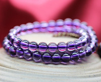 Min order $15 new fashion 2 laps 6mm  purple crystal beaded bracelet for ladies and girls  best selling best gift