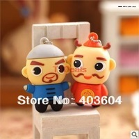Free Shipping 2psc Hot New Fight the landlord Cartoon 8GB 16GB 32GB 64GB USB 2.0 Flash Memory Stick Pen Drive Rubber