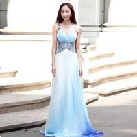 Fashion women's spaghetti strap long formal dress chiffon dress