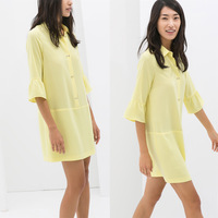 summer shirt dress double artificial gem button one-piece dress turn-down collar paragraph flare sleeve shirt dress
