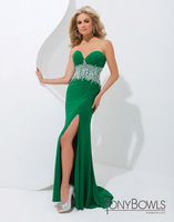 2014 New Arrival chiffon Sweetheart long prom gown split side 2014 Summer dress cutom Green Beading prom dresses