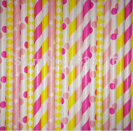 Free Shipping 300pcs Strawberry Lemonade Paper Straws Mixed 6 Patterns,Party Supplies Paper Drinking Straws wholesale(China (Mainland))