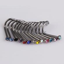 20pcs Mix Colors Rhinestone Nose Studs Ring Bone Bar Pin Piercing Jewelry FE5#