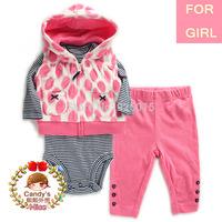 Carter Baby Girl Microfleece 3-piece Leopard Dot Stripe Vest Jacket Set Toddler Hooded Zip Clothing Suit, In Store, YW