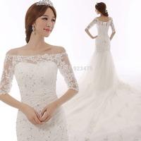 2014 New European and American retro strap sleeve Mermaid wedding dress Custom Size package hip  a long tail wedding dress 2014