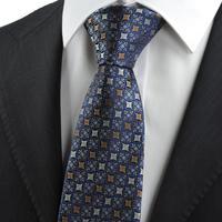 Free shipping New Brown Blue Bohemian Flora Checked Pattern JACQUARD WOVEN Men's Tie Necktie