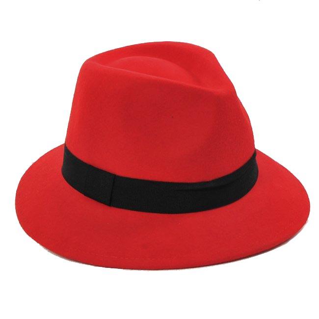 6pcs/Lot COOL Women Winter Wool Felt Fedora Hats Designer Womens Wool JAZZ Fedoras Caps Ladies Spring Trilby Cap Hat Headgear(China (Mainland))