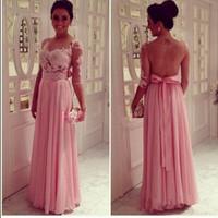 Sheer Scoop Neckline 3/4Long Sleeve Lace Applique  Floor Length Chiffon  Bridesmaid Dresses
