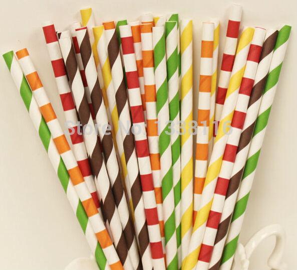 Gratis verzending 500 stuks vallende bladeren papier rietjes 5 gemengde patronen partij levert - Kleur gemengde kamer ...
